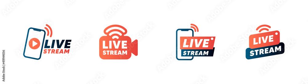 Fototapeta Set of live streaming icons and video broadcasting. Smartphone screen for online broadcast, streaming service.1