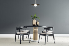 Black Round Table With Wooden Chairs Around In The Center Of Modern Dining Room With Black Wall And Light Ceramic Tiles Floor