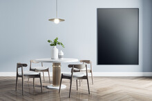 Blank Black Poster On Light Wall In Dining Room With Modern White Furniture With Golden Details And Wooden Parquet. Mock Up