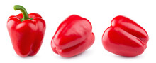 Red Paprika. Fresh Red Pepper Isolated. Red Bell Pepper. With Clipping Path. Full Depth Of Field.