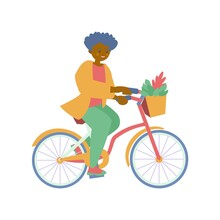 African American Woman Riding Bicycles With Basket Of Flowers Vector Flat Illustration
