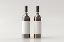 Two Red Wine Bottles 750ml Mock Up With Blank Label On White Background.