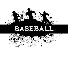Baseball Sport Player With Bat And Ball Vector Black Silhouettes. Baseball Team Catcher, Batter, Pitcher And Runner Pitching, Hitting And Catching, Banner With Players, Paint Splatters And Splashes