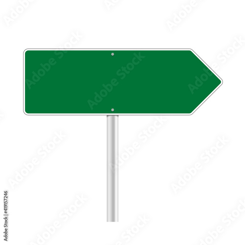 Fototapeta Road green traffic sign. Mockup - blank board with place for text, information and direction. Vector illustration isolated on white background. obraz