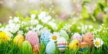 Beautiful Postcard With Easter Decoration And Painted Colorful Easter Eggs In Beautiful Nature Landscape In Spring. Easter Eggs On The Fresh Green Meadow.
