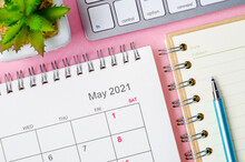 May 2021 Calendar With Note Book.