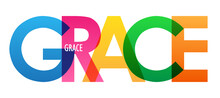 GRACE Colorful Vector Typography Banner Isolated On White Background