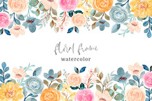 Colorful Rose Flower Frame With Watercolor