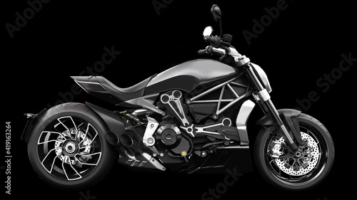 Dark black metallic chopper motorcycle 3d render Fotobehang