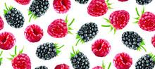 Berry Vector Seamless Pattern. Raspberry Background