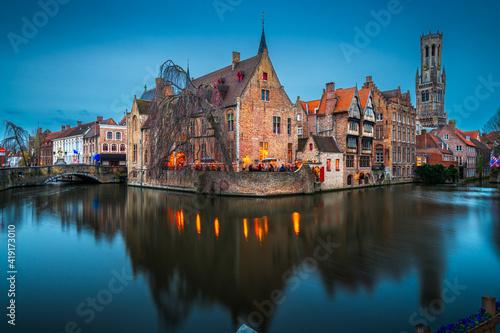 Canvas Bruges, Belgium Night Scene
