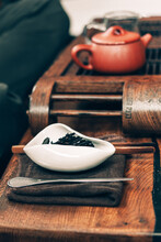 Chinese Tea Ceremony.Porcelain White Cha Hae With Tea On A Wooden Chaban.