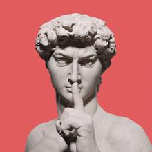 Quite Please Sign Hand Gesture David Sculpture, Stay Silent, Top Secret. 3d Rendering