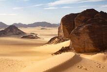 Sandy Rocks In Sahara Desert, Algeria Desert