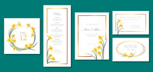Vector Set Wedding Invitation Cards Template With Daffodil Flowers