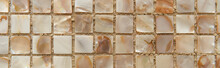 Background Of Small Nacreous Tiles, Top View, Banner