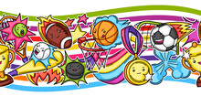 Seamless Pattern With Kawaii Sport Items.