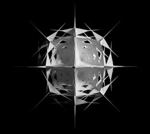 3d Render Of Abstract Black And White Art With Surreal 3d Cyber Star Or Alien Snow Flake Object Based On Triangles And Pyramids Fractal Structure In White Plastic Material On Isolated Black Background