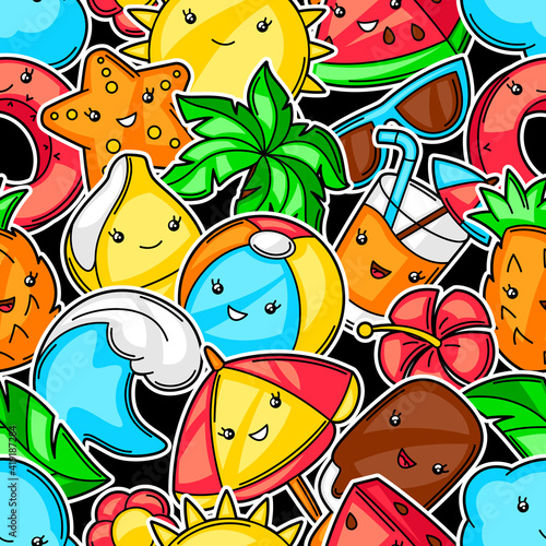 Seamless pattern with summer items. © incomible