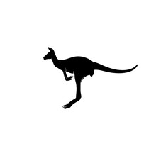 Silhouette Jumping Kangaroo In Black Color Vector Concept Illustration