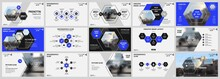 Abstract White, Blue Slides. Brochure Cover Design. Fancy Info Banner Frame. Creative Set Of Infographic Elements. Urban. Title Sheet Model Set. Modern Vector. Presentation Templates, Corporate.