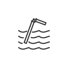 Plastic Straw Pollution Line Icon. Linear Style Sign For Mobile Concept And Web Design. Plastic Straw Floating In Sea Outline Vector Icon. Symbol, Logo Illustration. Vector Graphics