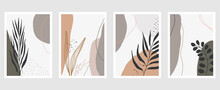 Set Of Vector Hand Drawn Artistic Summer Postcards With Tropical Palm Leaves, Organic Shapes And Textures.