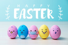 Happy Easter. Pandemic Party. Quarantine Holiday Celebration. Painted Egg Crowd With Cute Chicken Bunny Face In Protective Mask Pattern On Blue Background With White Greeting Words.