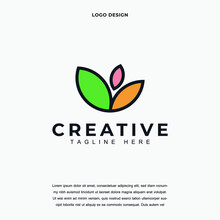 Creative Flower Tree Icon Logo Design Vector Illustration. Nature Tree Leaf Logo Design Color Editable