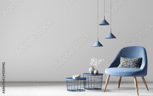 Obraz Interior of modern living room with blue armchair and coffee tables. Home design. 3d rendering - fototapety do salonu