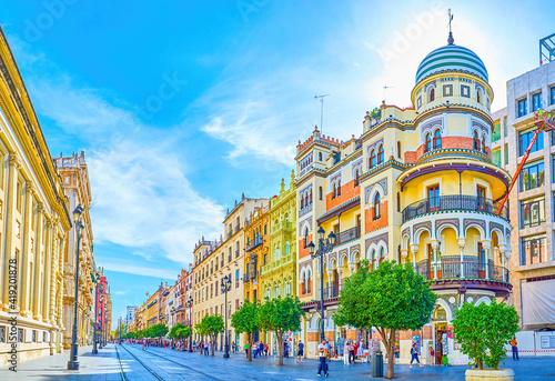 Fototapeta The amazing houses on Avenida de la Constitucion in Seville, Spain
