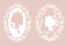 Elegant Queen Or Princess Wearing Crown With Rose Flowers And Butterfly Among Blooming Branches - Royal Head Portrait Vector Silhouette Design