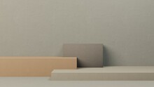 Minimal Abstract Podium Mock Up Design For Product Presentation Background Or Branding Concept With Grey, Green, Brown, Pastel Cube Boxes, Elegant Calm Leather, 3D Render, 3D Illustration, Rendering.