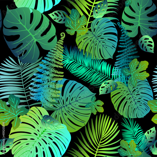 Pattern vector green neon tropical leaves of palm, monstera, fern. Plants on a black background.