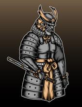 Grey Samurai Armor Illustration
