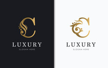 Luxury Letter C With Gold Color Logo Template