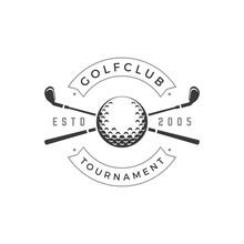 Golf Club Tournament Vector Logo Crossed Black Golfing Brassy Symbol Of Sports Competition