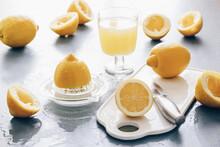 Lemon Juice, Juice By Hand, Lots Of Squeezed Lemons