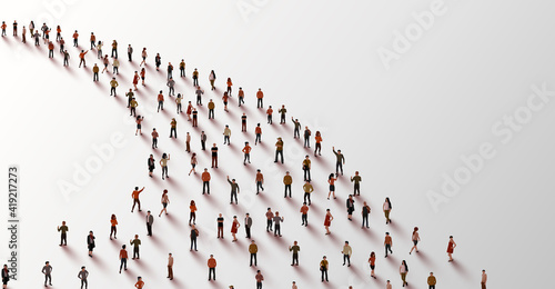 Template with a crowd of people standing in a line. People crowd. Fototapet