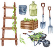 canvas print picture - Watercolor set of garden objects a ladder, wooden box, , watering can, flowerpot, cart. Gardening tools. Spring garden illustration.