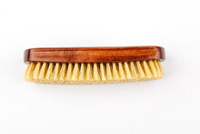 Horsehair Brush For Polishing Leather Shoes, On A White Background.