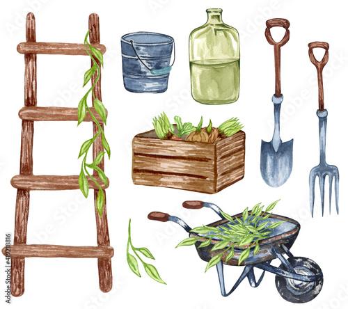 Slika na platnu Watercolor set of garden objects a ladder, wooden box, , watering can, flowerpot, cart