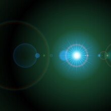 Bright Star In Green Space Vector Illustration. Blue Glow And Planet Explosion In Universe.