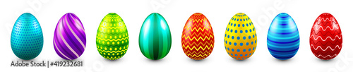 Obraz Colorful Easter eggs isolated on white background. Seasonal spring decoration element. Egg hunt game. Vector illustration. - fototapety do salonu