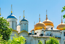 Cathedral Of The Dormition (Uspensky Sobor) Or Assumption Cathedral And Patriarshy Cathedral Of Moscow Kremlin Domes, Russia