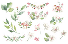 Watercolor Flowers Spring Bouquet Frame Pink Blossoms