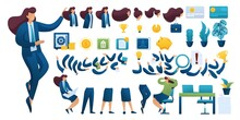 Constructor For Creating A Businesswoman. Create Your Own Businesswoman Character With A Set Of Hands And Feet. Flat 2D Vector Illustration N2