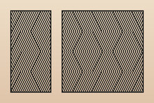 Laser Cutting Decorative Panels. Vector Template With Abstract Geometric Pattern, Lines, Stripes, Chevron, Zig Zag. Laser Cut Stencil For Wood, Metal, Plastic, Acrylic, Paper. Aspect Ratio 1:2, 1:1