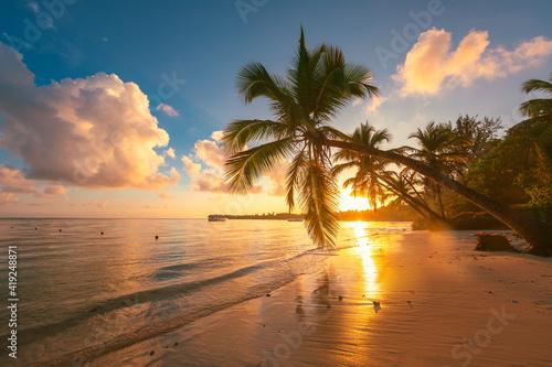 Fototapeta Landscape of paradise tropical island beach, sunrise shot obraz na płótnie