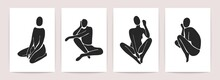 Women Body Silhouettes Matisse Style. Set Of Artistic Female Figures, Minimal Monochrome Drawings. Vector Illustration